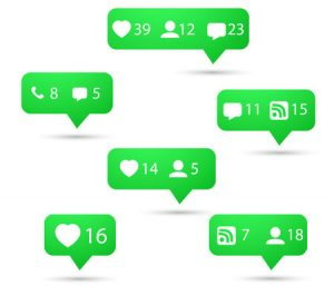 44762652 - illustration of set of social media network icons. include like, follow, call, message