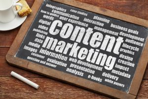 content marketing on chaulkboard with key word cloud