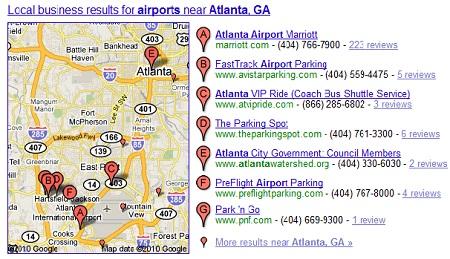 screenshot of google local resutls
