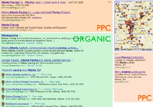 organic vs pcc screenshot of google