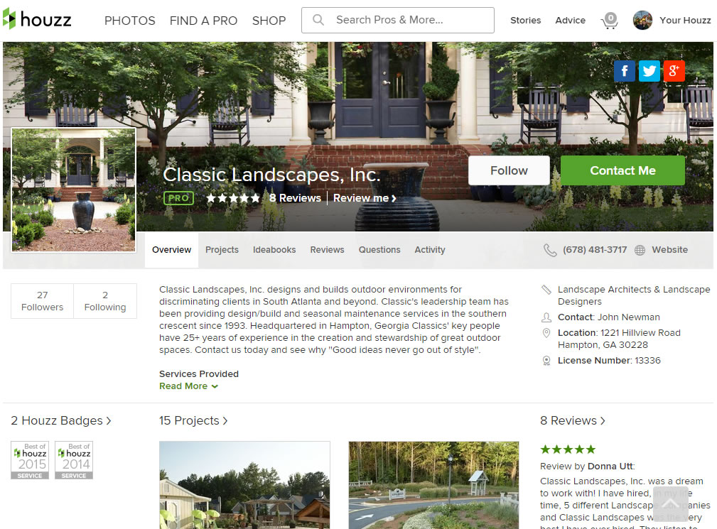 Houzz home page screenshot