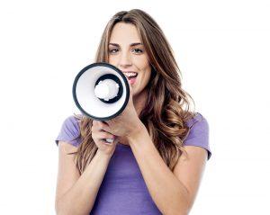 woman using a megaphone
