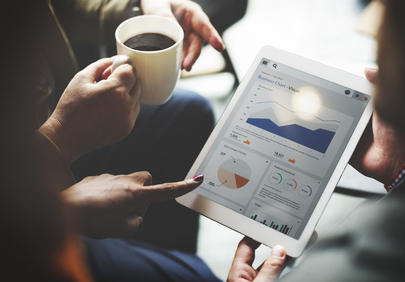 49150645 - business team brainstorming data target financial cocnept